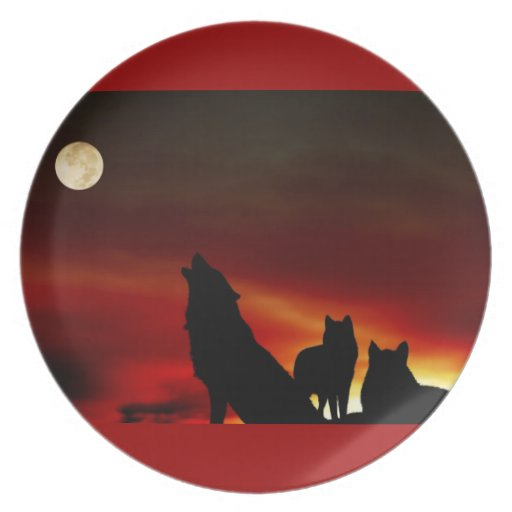Howling Wolves Red Dinner Plate