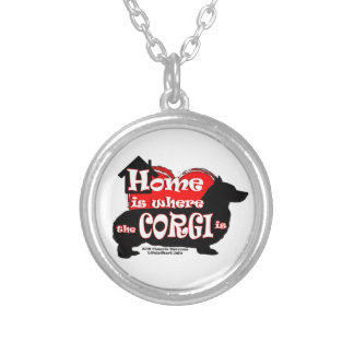 Howm Is Where the Corgi Is Silver Plated Necklace