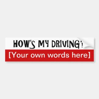 hows-mi-conducir-plantilla etiqueta de parachoque