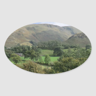 Howtown and Barton Fell in Cumbria Oval Sticker