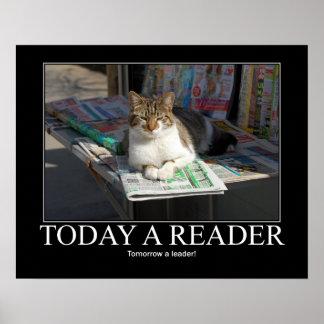 Hoy ilustraciones del gato del lector póster