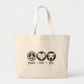Hoyos del amor de la paz bolsa tela grande