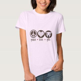 Hoyos del amor de la paz camisas