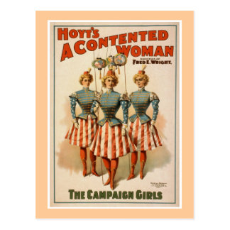 Hoyt's A Contented Woman Vintage Theater Poster Postcard