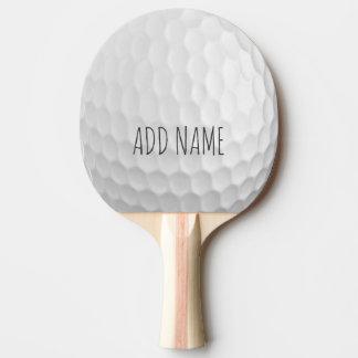 Hoyuelos de la pelota de golf con nombre de pala de ping pong