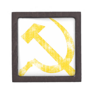 Hoz amarilla del martillo caja de joyas de calidad