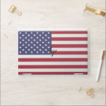 """HP laptop skin with flag of USA<br><div class=""""desc"""">Patriotic and elegant HP laptop skin with flag of United States of America. This product its customizable.</div>"""