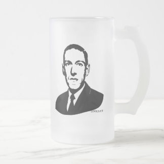 HP Lovecraft Portrait 16 Oz Frosted Glass Beer Mug