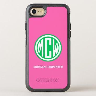 HPink Emerald 3I White Circle Monogram Font DIY BG OtterBox Symmetry iPhone 8/7 Case