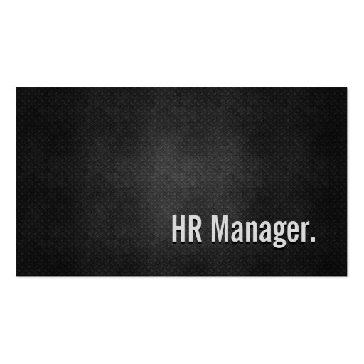 HR Manager Cool Black Metal Simplicity Business Card Templates