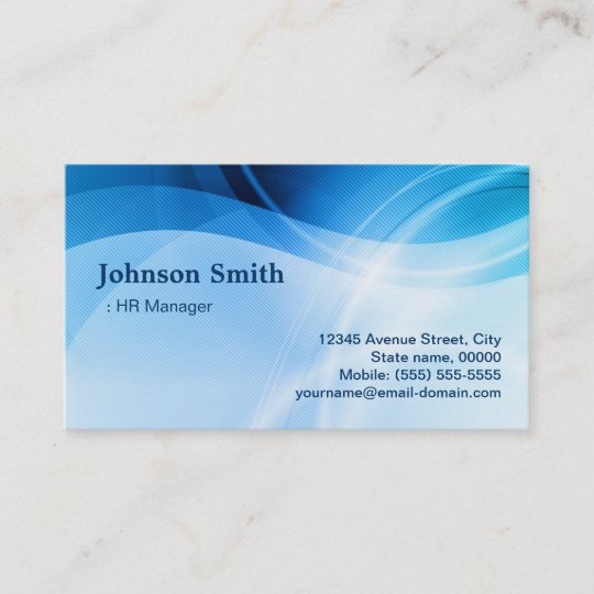 hr manager modern blue creative business card - Business Card Manager