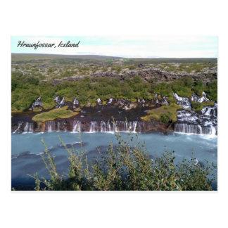 Hraunfossar waterfall in Iceland Postcard