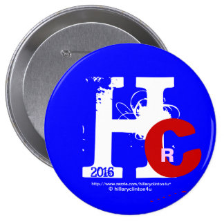 HRC 2016 Hillary Rodham Clinton 3D Look Patriotic 4 Inch Round Button