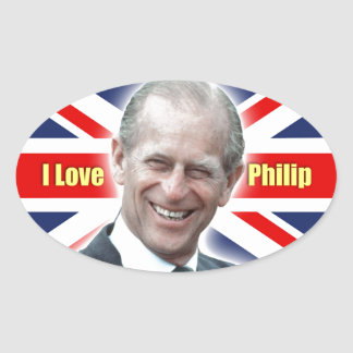 HRH Duke of Einburgh - I love Philip Oval Sticker