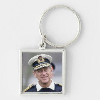 HRH el príncipe Philip, duque de Edimburgo Llavero Cuadrado Plateado