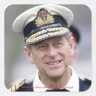 HRH el príncipe Philip, duque de Edimburgo Pegatina Cuadrada