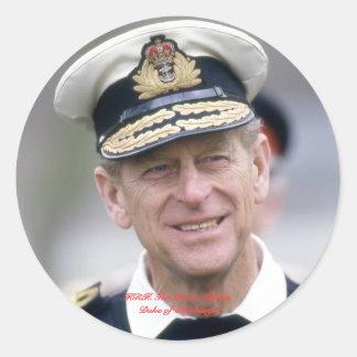 HRH el príncipe Philip, duque de Edimburgo Pegatina Redonda