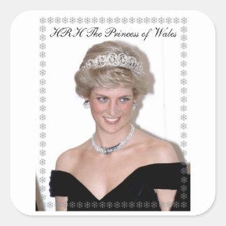 HRH la Princesa de Gales Joyeux Noël Calcomanías Cuadradases