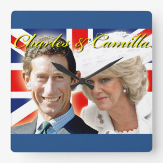 HRH Prince Charles & HRH Duchess of Cornwall Square Wall Clock