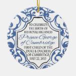 HRH Prince George Blue/White Scroll Christmas Ornaments