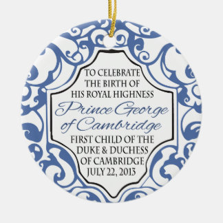 HRH Prince George Blue White Scroll Christmas Ornaments