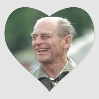 HRH Prince Philip laughing Heart Sticker