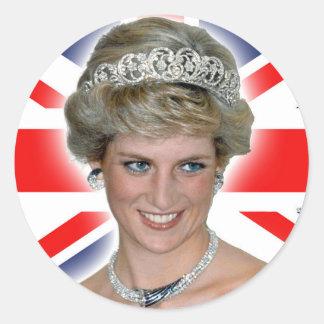HRH Princess Diana Union Jack Classic Round Sticker