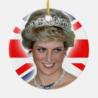 HRH Princess Diana Union Jack Double-Sided Ceramic Round Christmas Ornament