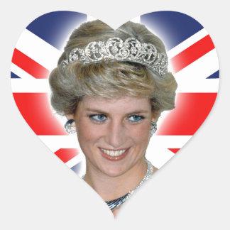 HRH Princess Diana Union Jack Heart Sticker