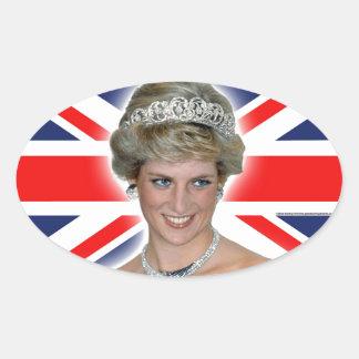 HRH Princess Diana Union Jack Oval Sticker