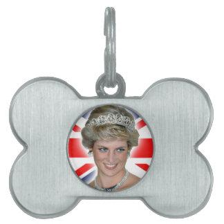 HRH Princess Diana Union Jack Pet Name Tags