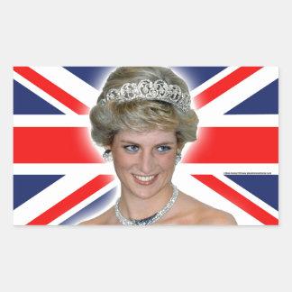 HRH Princess Diana Union Jack Rectangular Sticker