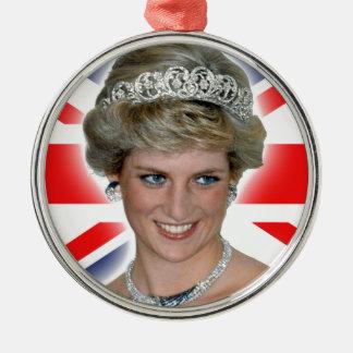 HRH Princess Diana Union Jack Round Metal Christmas Ornament