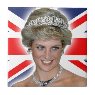 HRH Princess Diana Union Jack Small Square Tile