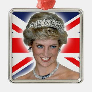 HRH Princess Diana Union Jack Square Metal Christmas Ornament