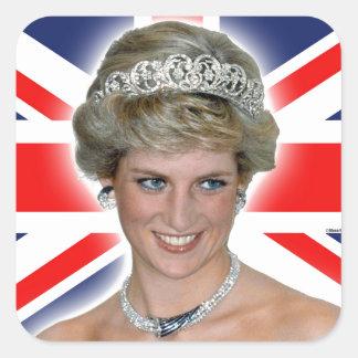 HRH Princess Diana Union Jack Square Sticker