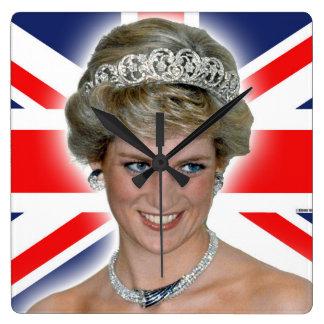 HRH Princess Diana Union Jack Square Wallclocks
