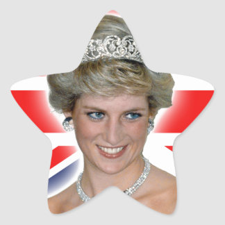 HRH Princess Diana Union Jack Star Sticker