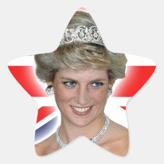 HRH Princess Diana Union Jack Star Sticker