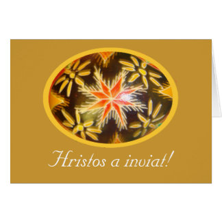 Hristos a inviat! Painted Egg w Romanian Greeting1 Greeting Cards