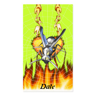 hrome yellow jacket design 2 with fire and web. business card