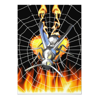 """hrome yellow jacket design 2 with fire and web. 5"""" x 7"""" invitation card"""