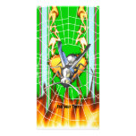 hrome yellow jacket design 2 with fire and web. photo card