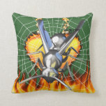 hrome yellow jacket design 2 with fire and web. pillow