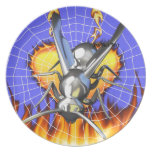 hrome yellow jacket design 2 with fire and web. dinner plate