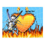 hrome yellow jacket design 2 with fire and web. postcard