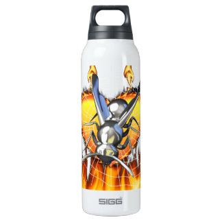 hrome yellow jacket design 2 with fire and web. SIGG thermo 0.5L insulated bottle