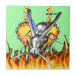 hrome yellow jacket design 2 with fire and web. tile