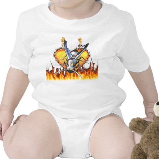 hrome yellow jacket design 2 with fire and web. tshirts