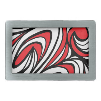 Hrovat Abstract Expression Red White Black Rectangular Belt Buckle